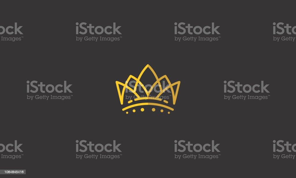 roi de la Couronne ligne art logo icône vecteur - clipart vectoriel de Abstrait libre de droits