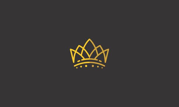 illustrations, cliparts, dessins animés et icônes de roi de la couronne ligne art logo icône vecteur - couronne reine