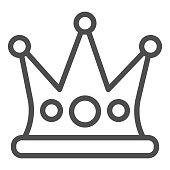 Crown line icon. Party decoration diadem. Festive Event and Show vector design concept, outline style pictogram on white background, use for web and app. Eps 10