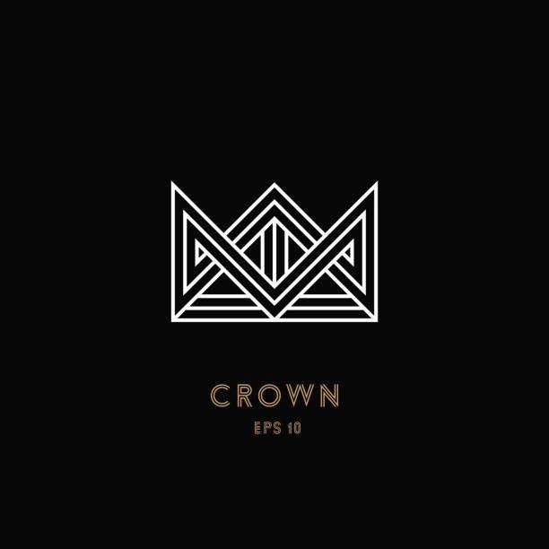 crown logo, geometric monogram - 皇冠 頭飾 幅插畫檔、美工圖案、卡通及圖標
