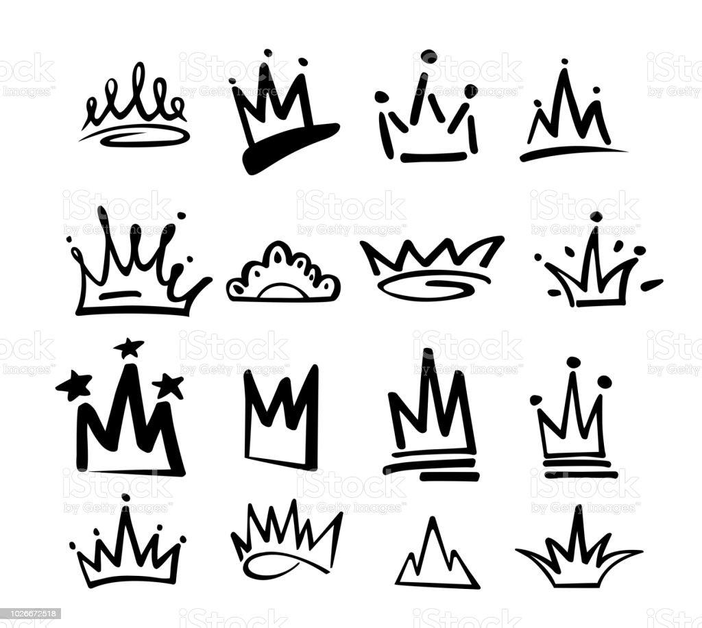 Icône du graffiti logo couronne. Éléments noirs isolés sur fond blanc. Illustration vectorielle. Princesse royale de la Reine. Style de pinceau noir de line.hipster. Jeu de couronne Doodle dessinés à la main - clipart vectoriel de Abstrait libre de droits