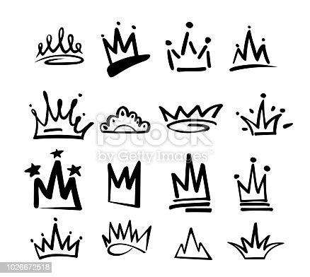 istock Crown logo graffiti icon. Black elements isolated on white background. Vector illustration.Queen royal princess.Black brush line.hipster style. Doodle hand drawn crown set 1026672518
