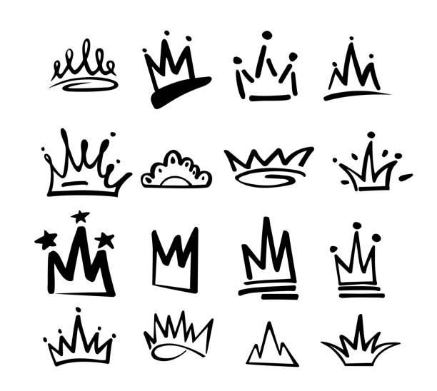 taç logo grafiti simge. siyah öğeleri beyaz arka plan üzerinde izole. vektör çizim. kraliçe kraliyet prenses. siyah fırça line.hipster tarzı. doodle çizilmiş el taç seti - duvar yazısı stock illustrations