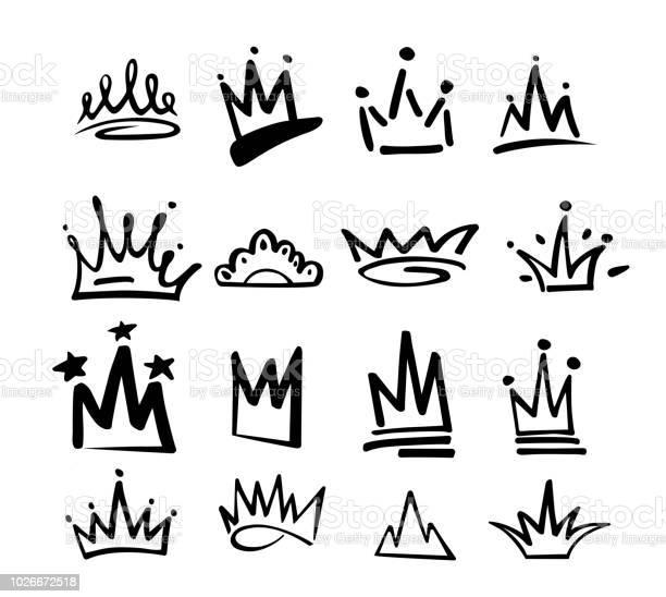 Icône Du Graffiti Logo Couronne Éléments Noirs Isolés Sur Fond Blanc Illustration Vectorielle Princesse Royale De La Reine Style De Pinceau Noir De Linehipster Jeu De Couronne Doodle Dessinés À La Main Vecteurs libres de droits et plus d'images vectorielles de Abstrait