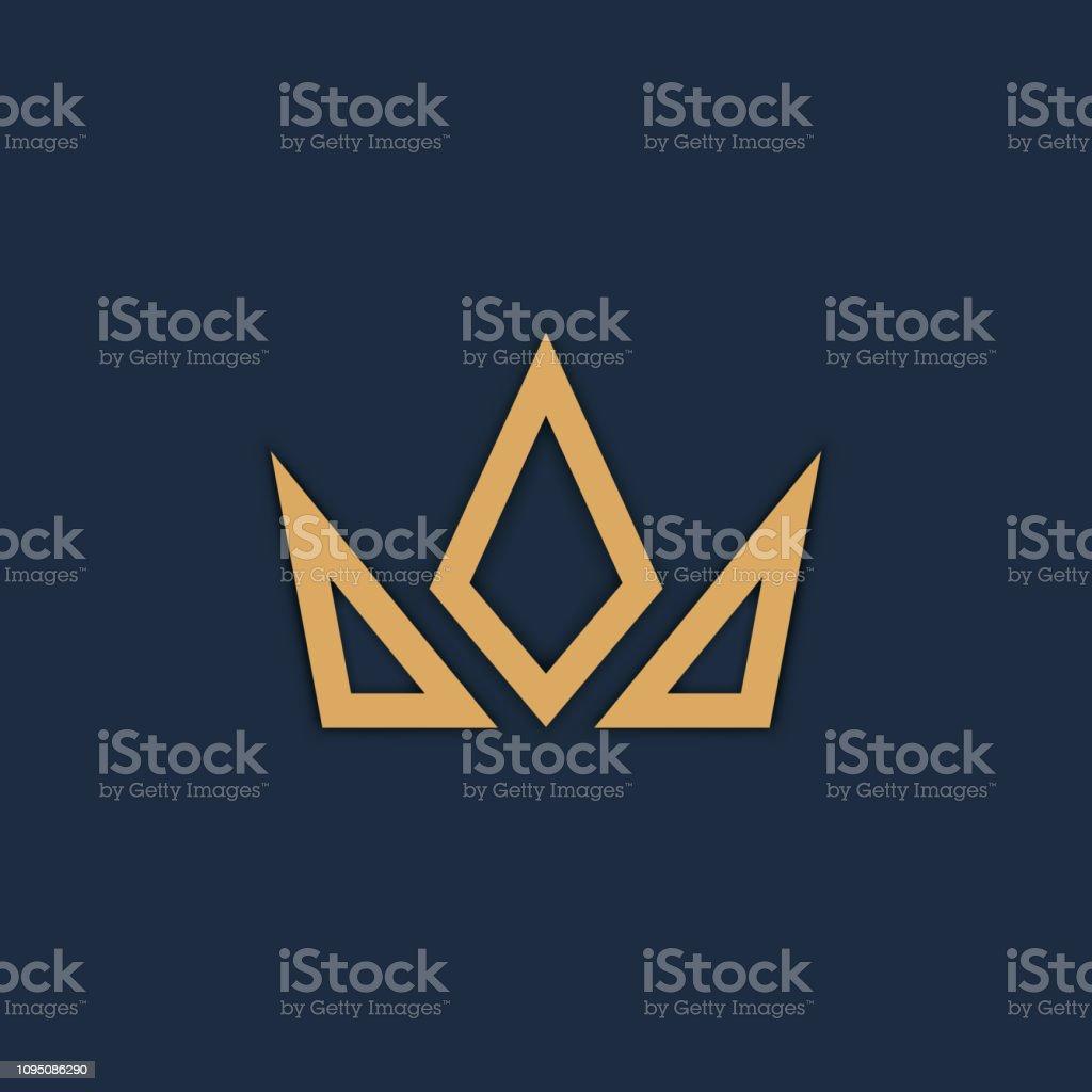 Logo de couronne sur fond sombre. Vector - clipart vectoriel de Abstrait libre de droits