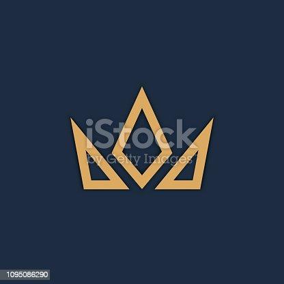 istock Crown logo on dark background. Vector 1095086290