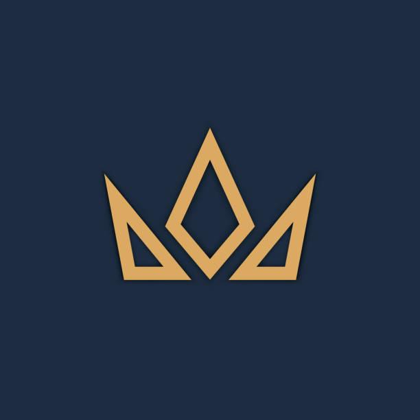 黑色背景上的皇冠徽標。向量 - 皇冠 頭飾 幅插畫檔、美工圖案、卡通及圖標