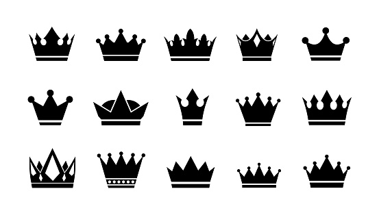 Crown logo. Vector flat crowns icons.