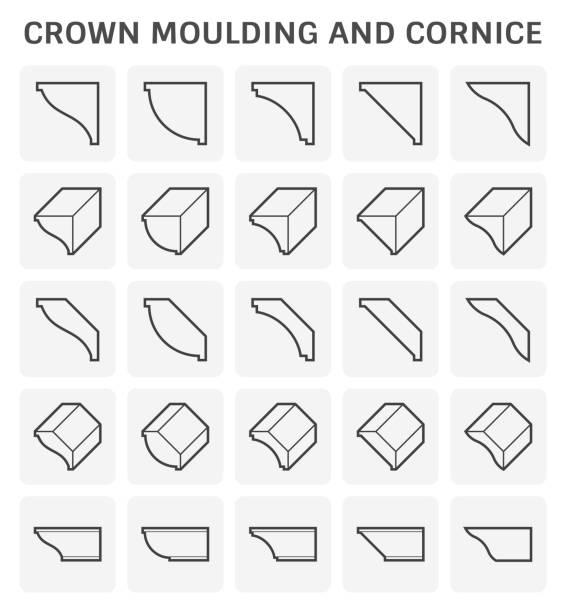 crown moulding cornice - карниз stock illustrations