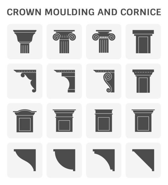 kronenformen knetten - gesims stock-grafiken, -clipart, -cartoons und -symbole