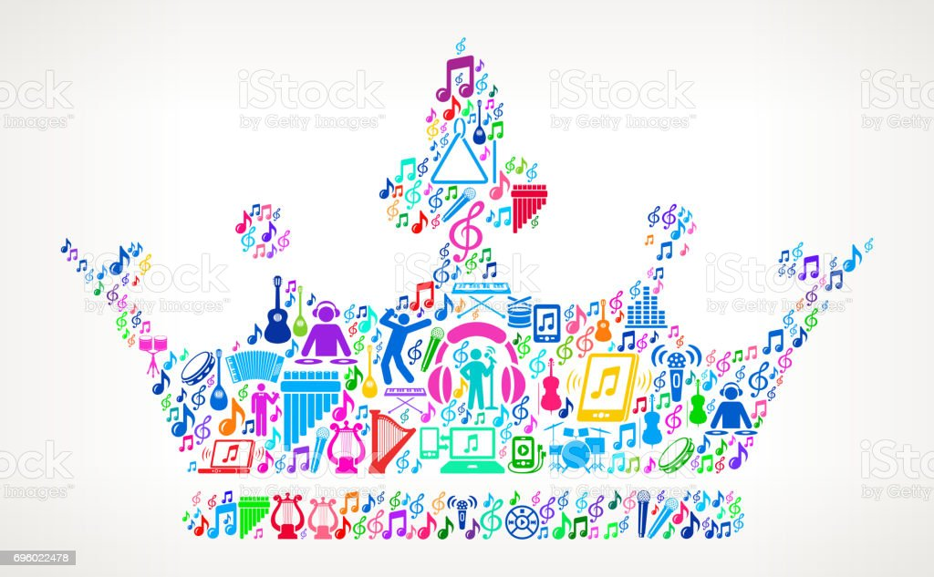 Crown  Music and Musical Celebration Vector Icon Background vector art illustration