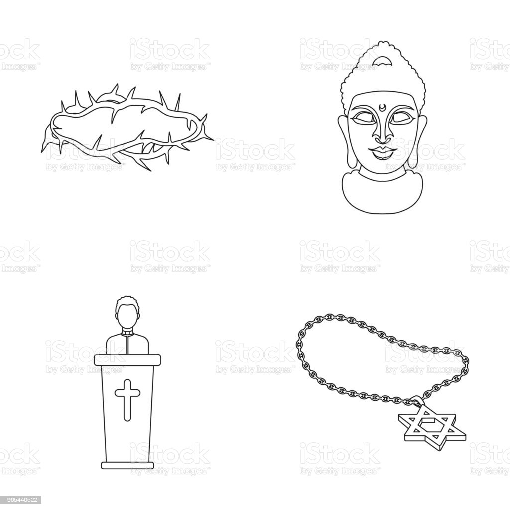 A crown of thorns, a star of David, a priest, a buddha head. Religion set collection icons in outline style vector symbol stock illustration web. a crown of thorns a star of david a priest a buddha head religion set collection icons in outline style vector symbol stock illustration web - stockowe grafiki wektorowe i więcej obrazów budda royalty-free