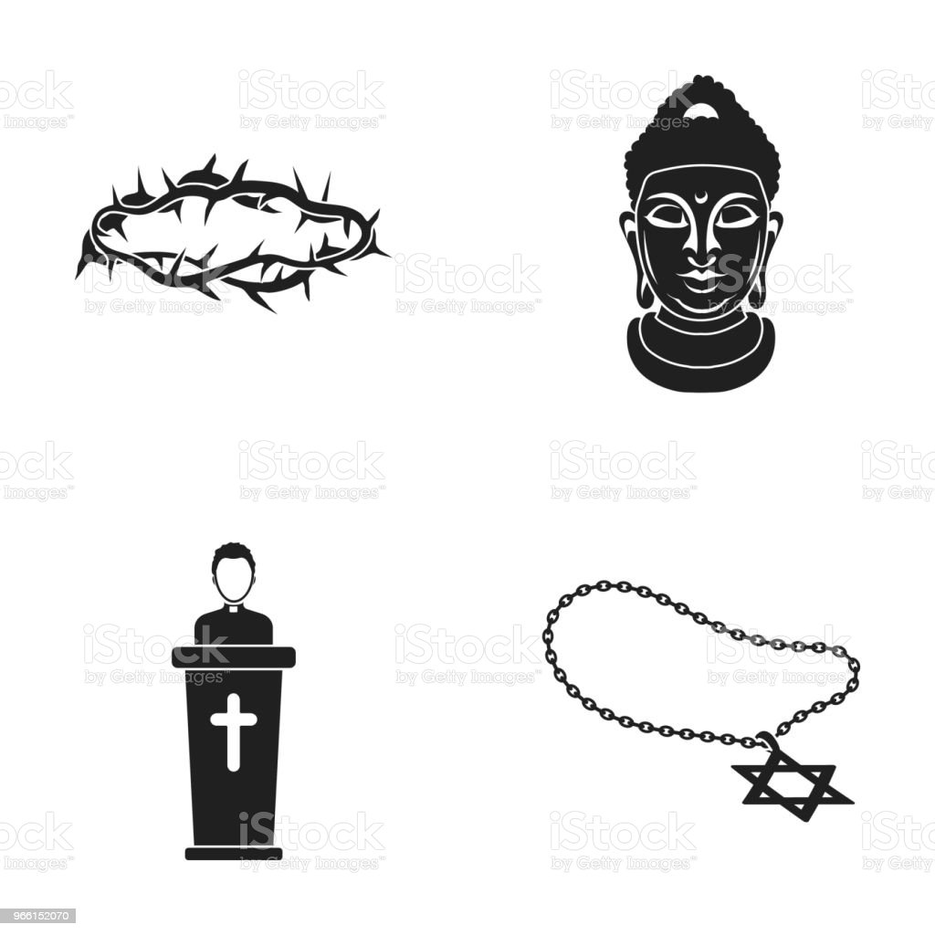 A crown of thorns, a star of David, a priest, a buddha head. Religion set collection icons in black style vector symbol stock illustration web. - Royalty-free Buddha stock vector