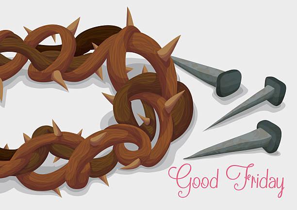 krone von dornen und rostige nägel für karfreitag - nagelspitze stock-grafiken, -clipart, -cartoons und -symbole