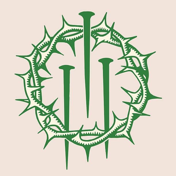 krone von dornen und nägel drei - nagelspitze stock-grafiken, -clipart, -cartoons und -symbole