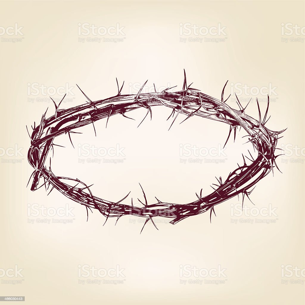 crown of thorns hand drawn vector llustration realistic sketch vector art illustration