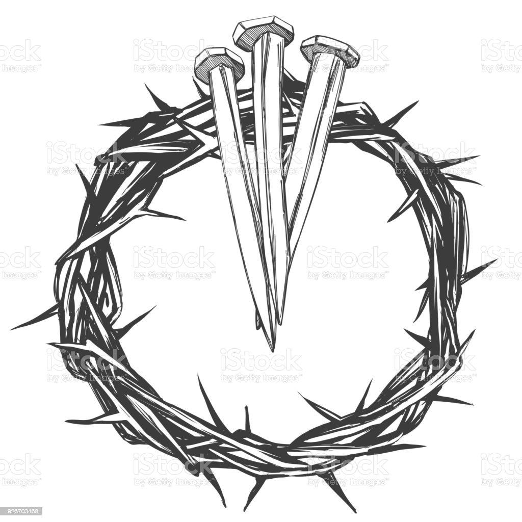 Ilustración De Corona De Espinas Clavos Símbolo Religioso De Semana