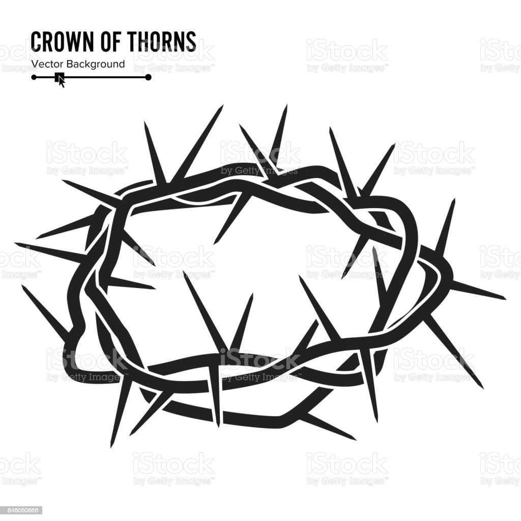 Crown Of Thorns. Silhouette Of A Crown Of Thorns. Jesus Christ. Isolated On White Background. Vector Illustration vector art illustration