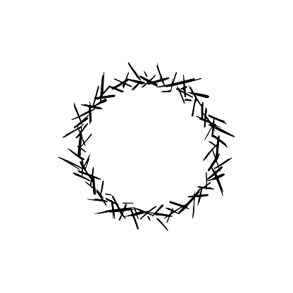 Crown of thorns sketch logo.