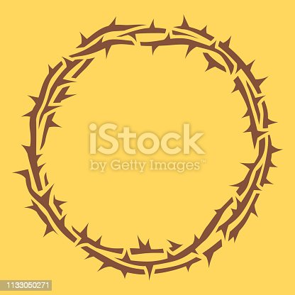 Religious crown of thorns good Friday Jesus thorn circle border.