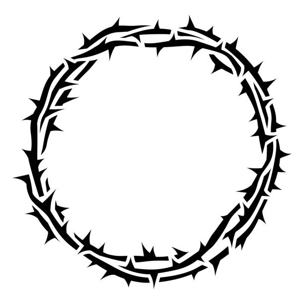 Crown of Thorns Religious crown of thorns good Friday Jesus thorn circle border. seven deadly sins stock illustrations