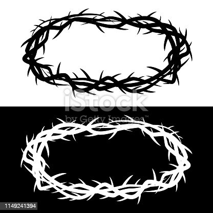 Vector Illustration of a Black and White options of a Crown of Thorns