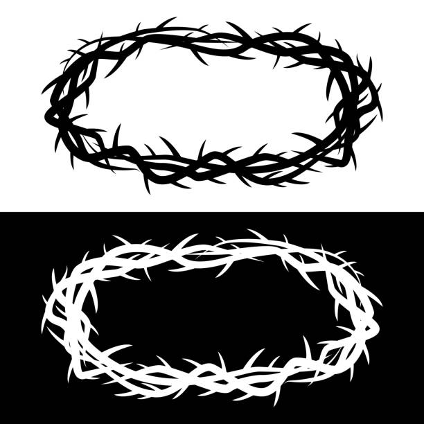 Crown of Thorns Vector Illustration of a Black and White options of a Crown of Thorns seven deadly sins stock illustrations