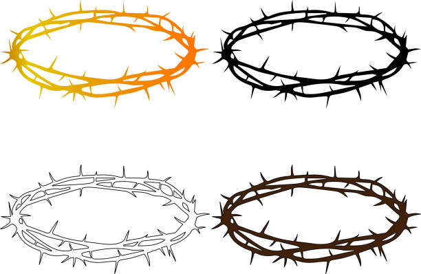 crown of thorns crown of thorns, Jesus Christ's - crown sharp stock illustrations