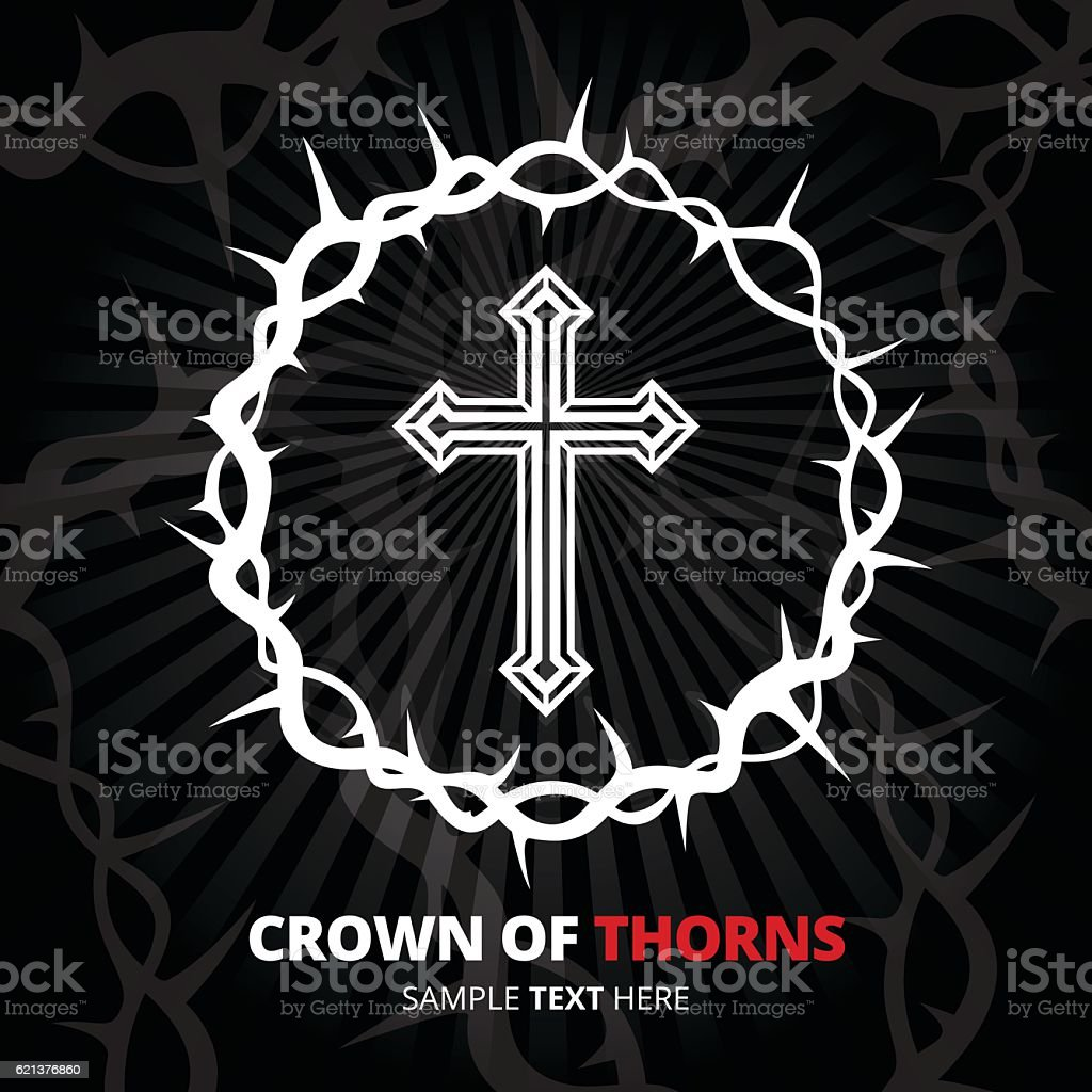 Crown of thorns with cross on black background. Vector illustration. vector art illustration