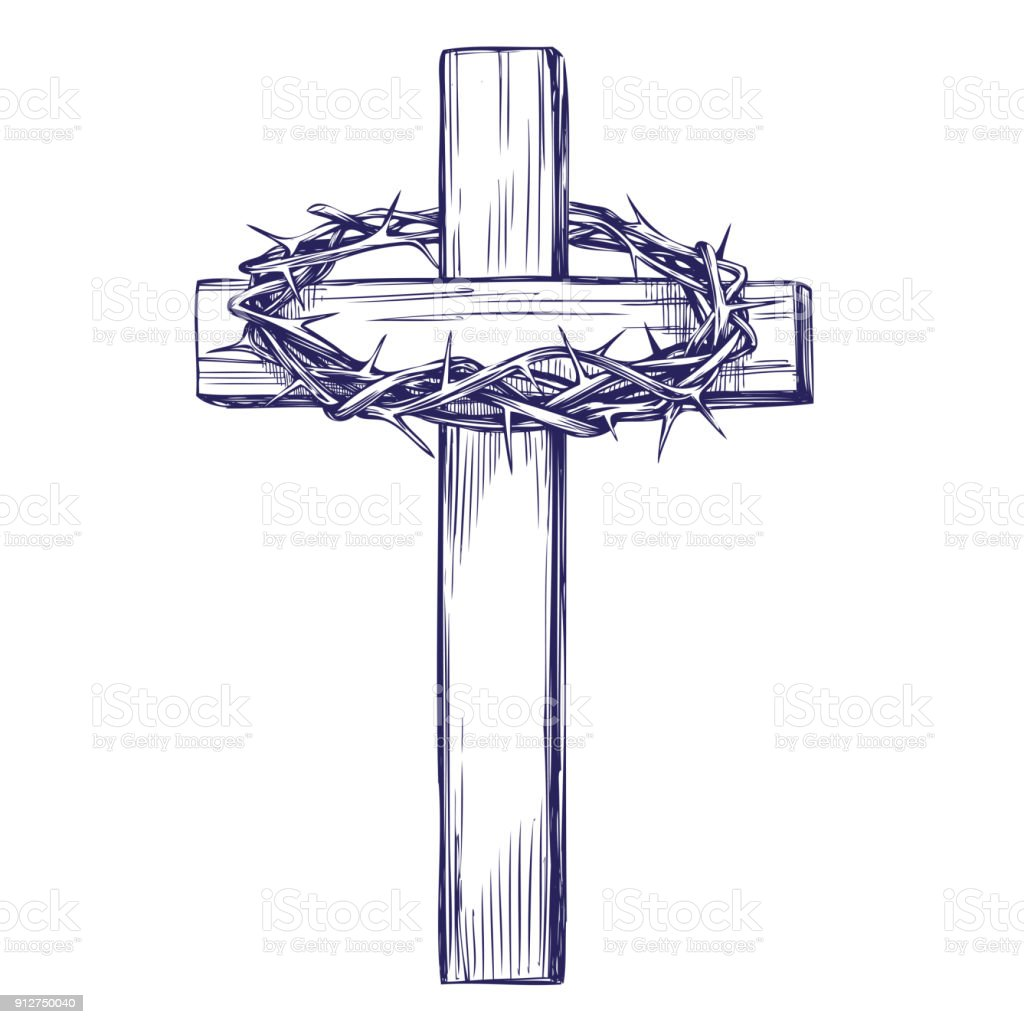 Crown Of Thorns Wooden Cross Easter Symbol Of Christianity Hand