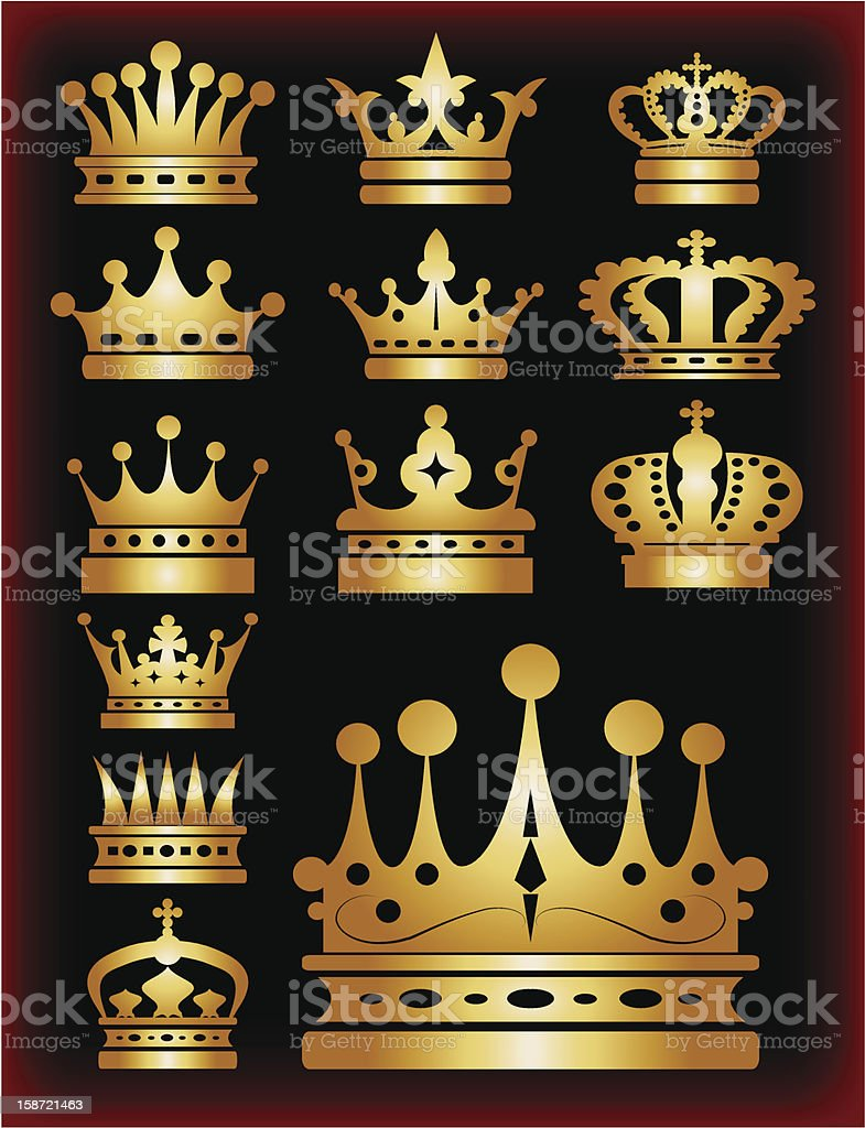 Crown set gold icons. Vector illustration royalty-free crown set gold icons vector illustration stock vector art & more images of authority