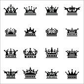Crown set icons black on white. Vector illustration