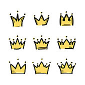 Crown set in sketch draw style. King crown icon. Vector