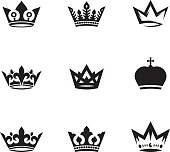 Vector set of nine different crowns