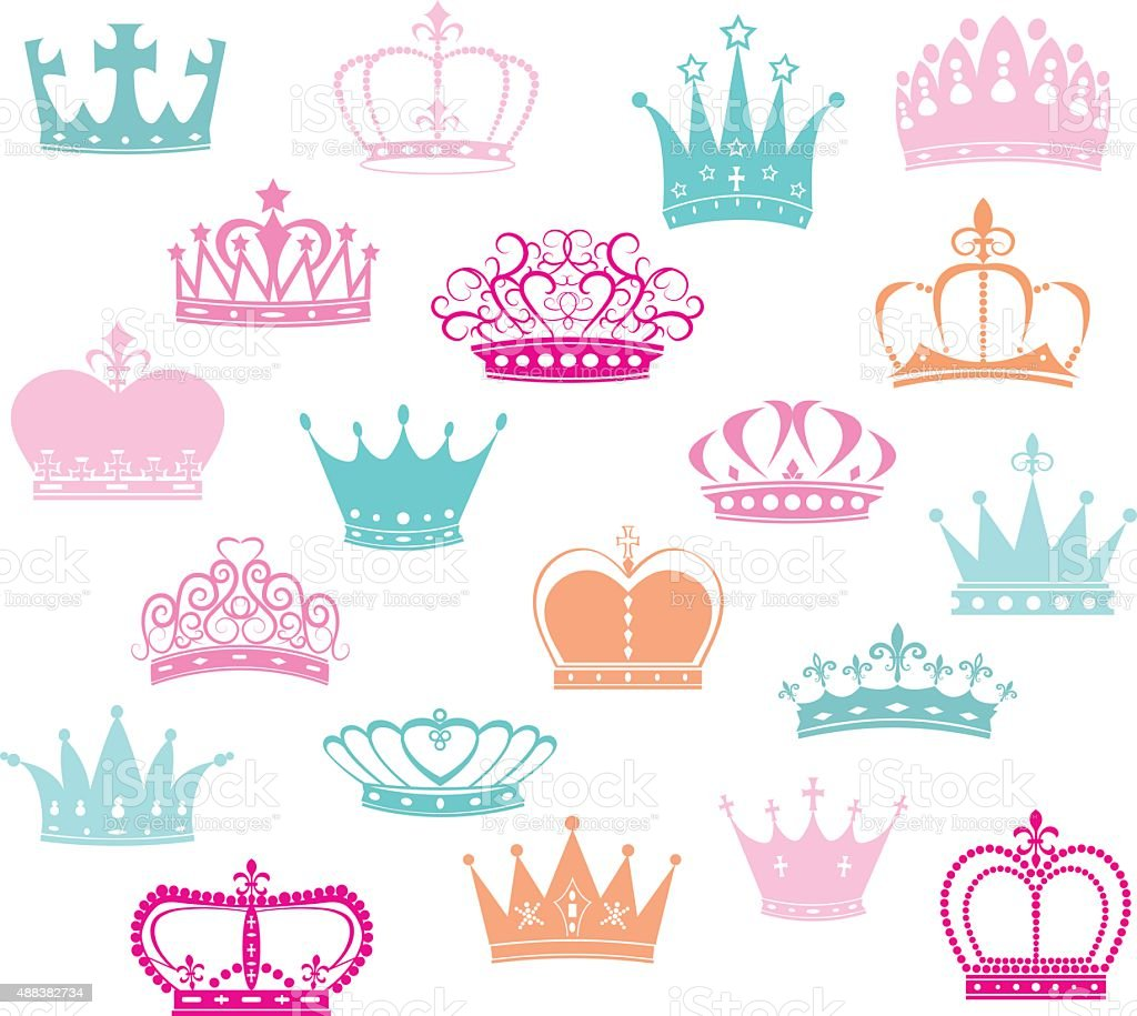 Crown Silhouette,Princess Crown vector art illustration