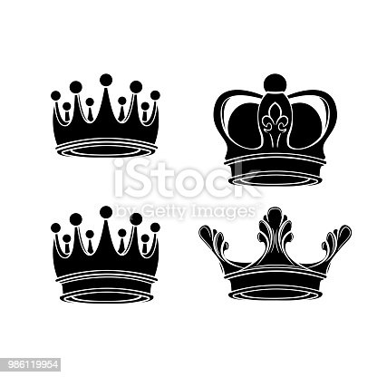 Crown Silhouettes Set Royal Sign Collection King Queen Symbols