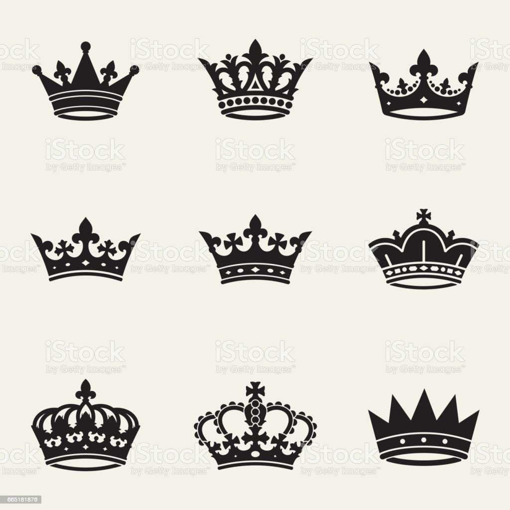 Crown сollection vector art illustration