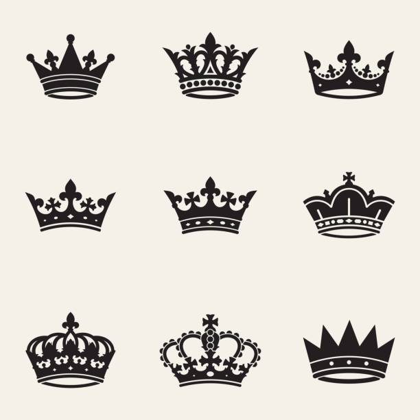Crown сollection Сollection of nine different crowns crown headwear stock illustrations