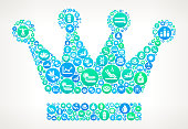Crown  Spa and Wellness Vector Icon Pattern