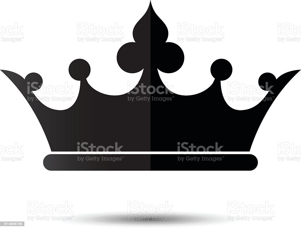 Crown Symbol With Black Color Isolate On White Background Stock
