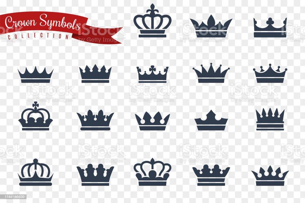 Symboles de la Couronne. Roi Reine couronnes monarque impérial couronnement princesse diadème crête luxe bijou Royal gagnant prix plat, icônes vectorielles - clipart vectoriel de Armoiries libre de droits