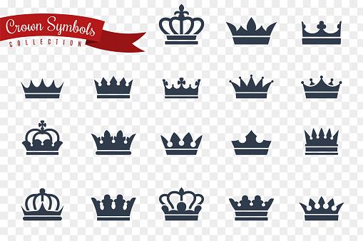 Crown symbols. King queen crowns monarch imperial coronation princess tiara crest luxury royal jewel winner award flat, vector icons