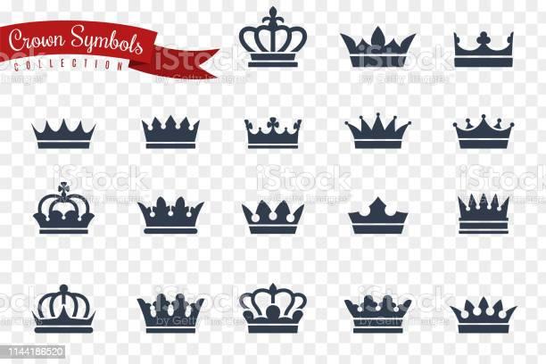 Symboles De La Couronne Roi Reine Couronnes Monarque Impérial Couronnement Princesse Diadème Crête Luxe Bijou Royal Gagnant Prix Plat Icônes Vectorielles Vecteurs libres de droits et plus d'images vectorielles de Armoiries