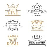 Crown symbols set. Luxury crown in trendy line style. Vector illustration for hotel, restaurant, boutique, invitation, jewellery, etc.