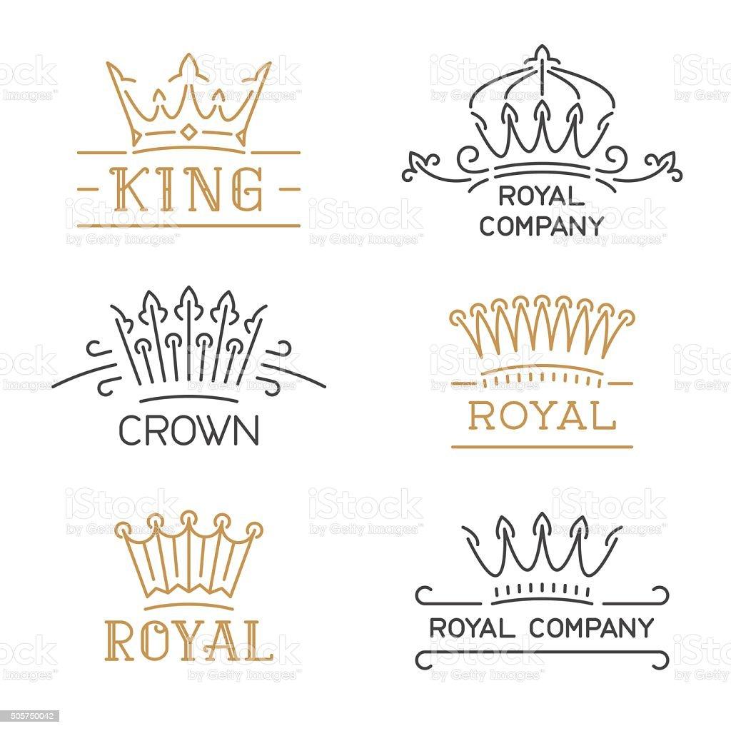 Crown symbols set. Luxury crown in trendy line style. vector art illustration