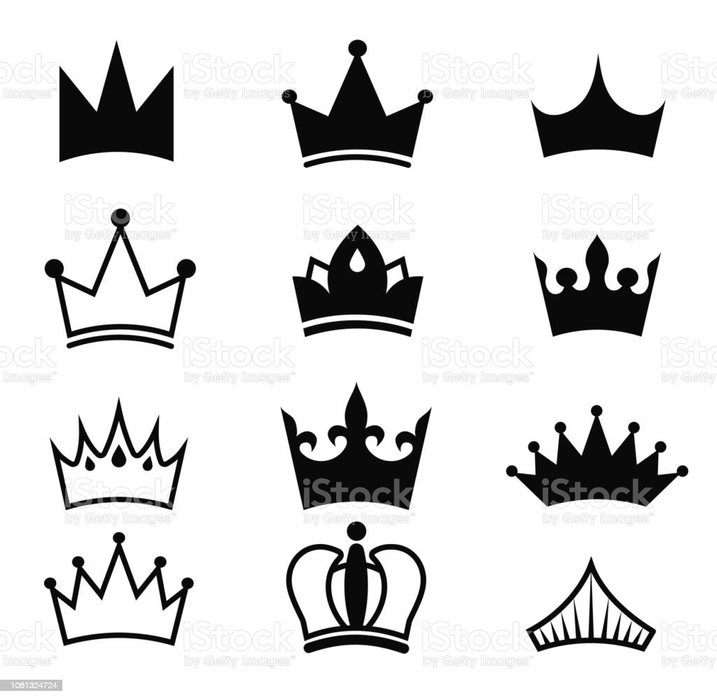 Crown vector black set king silhouette isolated on white background royal crown icons collection high status item element for your design