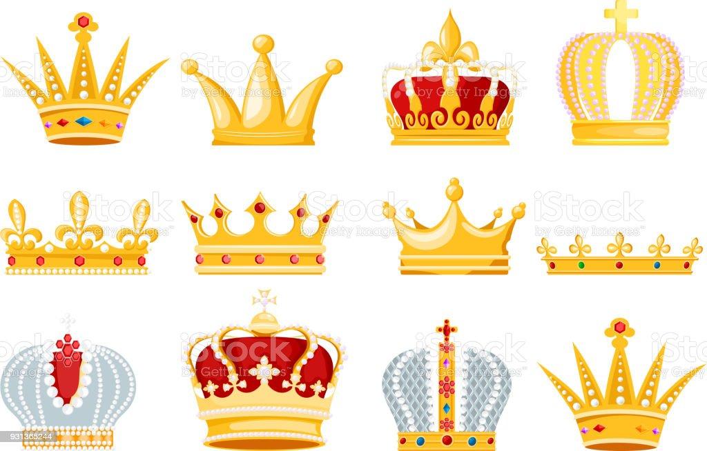 Symbole de couronne vector or bijoux royal du roi Reine et la princesse illustration signe de couronnement ensemble d'autorité de prince de couronne jeweles isolé sur fond blanc - clipart vectoriel de Antiquités libre de droits