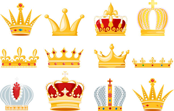 illustrations, cliparts, dessins animés et icônes de symbole de couronne vector or bijoux royal du roi reine et la princesse illustration signe de couronnement ensemble d'autorité de prince de couronne jeweles isolé sur fond blanc - couronne reine