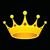 A vector icon of a royal pointed crown