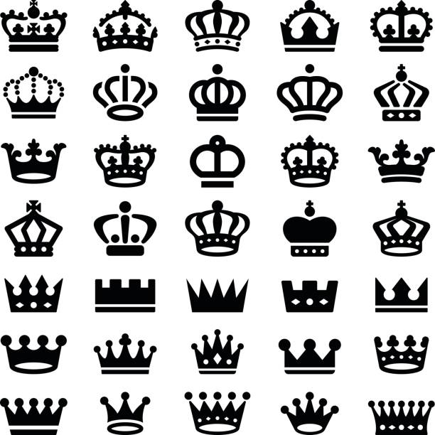 Crown Crown icon collection - vector silhouette crown headwear stock illustrations